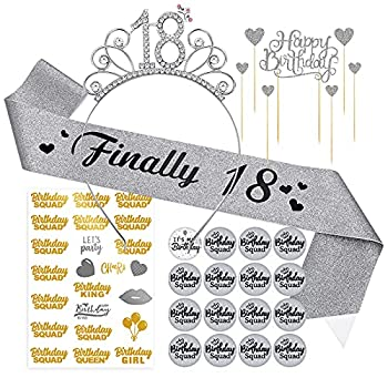 Silver 18th Birthday Sash Tiara Crown - 18 Birthday Buttons Pins Gifts for Girls Birthday Decorations Party Supplies Favor