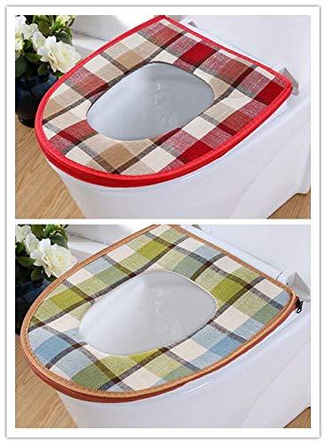 BAOZIV587 Zomer Toiletbril Huishoudelijke Toiletbril Kussen Linnen Waterdicht Toiletbril Kussen Universeel Toiletbril Wasmachine, Verkoop Retro Plaid rood om Dezelfde Paragraaf Curry te verzenden