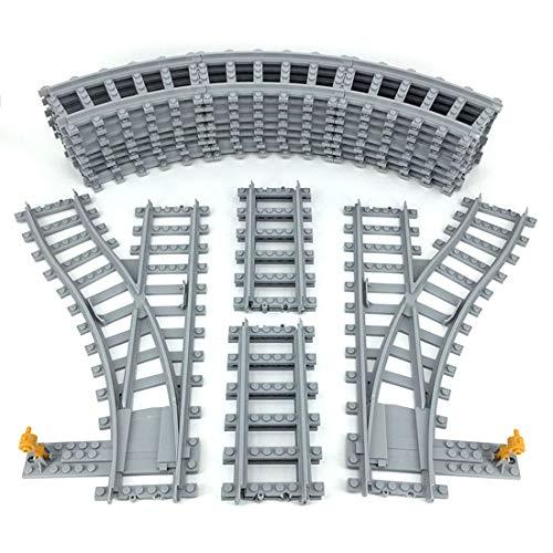 FADY City Schienen, Bausteine Schienen Set, Erweiterungsset Kompatibel mit Lego Zug - 5 Teile(Recht)