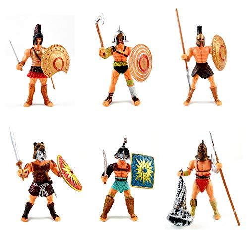 Kunststoff-Soldat 6 Stück Römischer Gladiator Spielsets Spielzeug Mit Waffen Und Schild, Das Alte Rom Soldat Action-Figuren, Spartanischer Krieger
