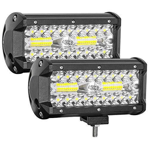 Zmoon Led Light Bar,240W 24000lm Led Fog Light 7 Inch Led Driving Lights Off Road Lights with Spot&Flood Combo Beam,Waterproof Die-Casting Aluminum Alloy Shell for Jeep Boat UTV Truck ATV (2 Pack)