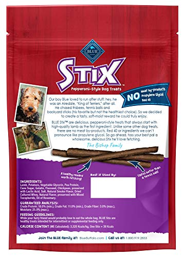 Blue Buffalo Stix Natural Soft-Moist Dog Treats, Lamb Recipe 6-oz bag