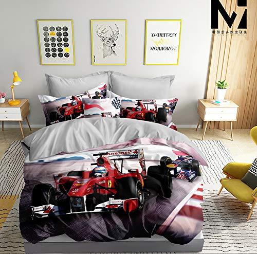 3D Bettwäsche Formel 1 Bettbezug-Set 135x200 + Kissenbezug 80x80 cm F1 Wendebettwäsche 2 Teilig Rot Weiß Grau mit Reißveschluss