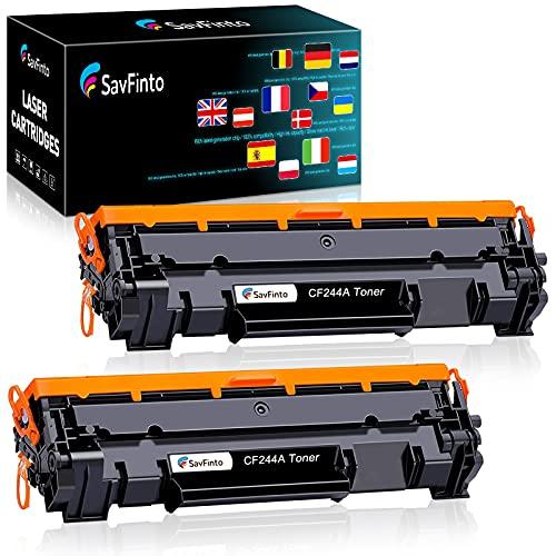 SavFinto CF244A - Tóner compatible con HP M15w (repuesto para HP CF244A 44A, compatible con HP Laserjet Pro M15a M15w MFP M28a M28w (2 negros)