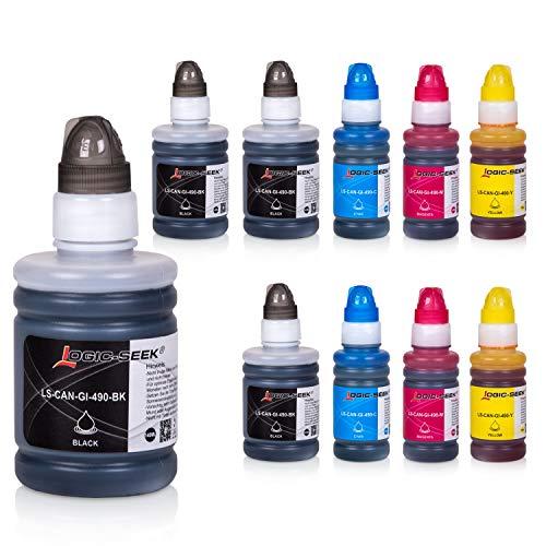 Logic-Seek 10 Tintenbehälter kompatibel mit Canon GI-590 / GI-490 für Canon Pixma G1400 G1500 G2400 G2500 G3400 G3500