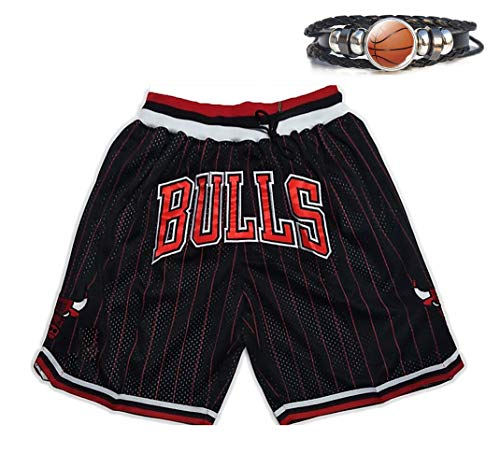 Herren Basketball Shorts Bulls and Knicks Spiel Basketball Shorts Mesh Atmungsaktive Shorts, Retro Stickerei Sport Basketball Shorts Bulls-S