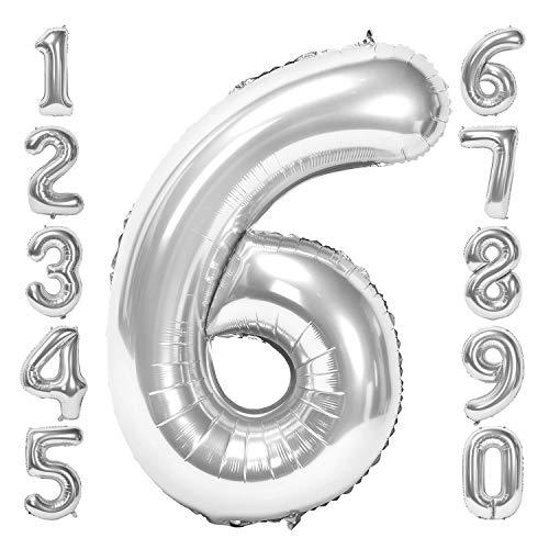 Siumir Silber Number Folienballon Riesenzahl Zahlenballon Zahl 6 Luftballon für Geburtstag, Hochzeit , Jubiläum Party Dekoration