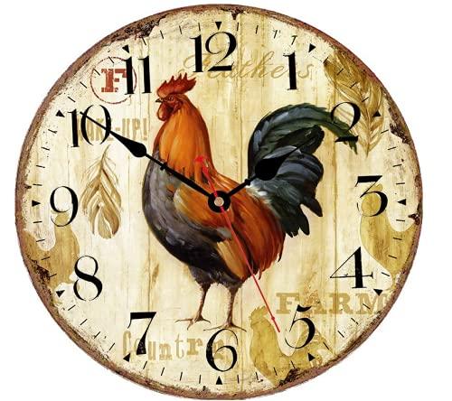 Telisha Design rétro Grande Horloge Poulet à Coq Home Decorative Horloge Murale Pendules Murales Bois 34CM 13.4\