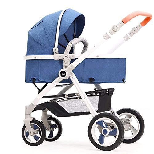 GFHJ1201 Cochecito De Bebé De Alta Vista, Cochecito De Bebé con Sombrilla De Respaldo Ajustable, Sistema De Viaje para Bebés Portátiles con Cesta Grande(Color:Azul)