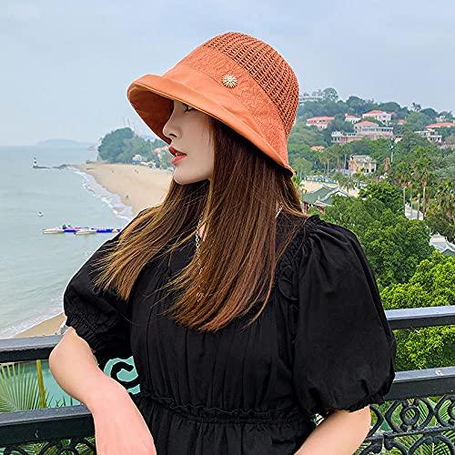 Geekcook Sombrero cordobes Mujer,2021 Nuevas señoras Sombrilla de Sol de Verano Sombrero de protección Solar con Solar Transpirable Solar al Aire Libre Olla Salvaje Sombrero-Naranja_M (56-58cm)