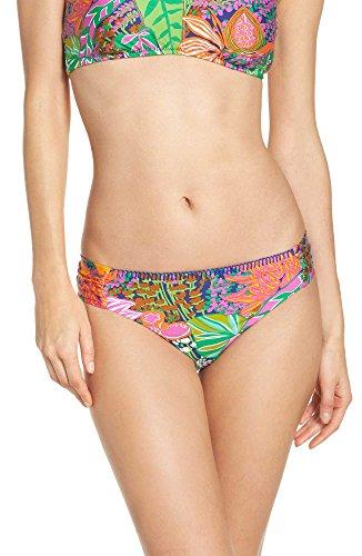 Trina Turk Women's Shirred Side Hipster Pant Bikini Swimsuit Bottom, Green/Pink/Purple/Tropical Escape, 6