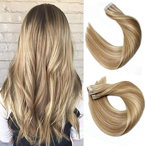 VARIO HAIR Tape In Hair Extensions Human Hair 9A 20pcs/50g Per Set #12P613 Golden Brown Highlighted Blonde Piano Color Double Sided Tape Silk Straight Hair Tape in Extensions Human Hair 14 Inch