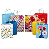 Hallmark Gift Bags Assortment, Floral, Stripes, Polka Dots, Solids (Pack of 8: 4 Large 13' and 4 Medium 9') for Birthdays, Mother's Day, Baby Showers, Bridal Showers, Any Occasion