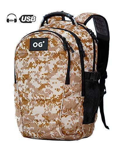 OG Online&Go Mochila Táctica Militar USB Impermeable 40L, Portátil, Camuflaje, Excursion, Camping, Senderismo, Trekking, Montaña, Caza, Ciclismo, Viaje (Marrón)