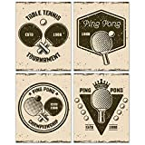 Vintage Ping Pong Table Tennis Wall Art Decor Prints - Set of 4 (8x10) Poster Photos - Bedroom Basement Gift...
