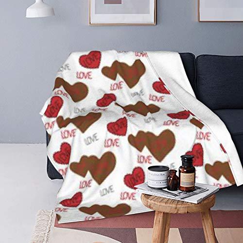 DUTRIX Patrón marrón rojo corazones bordados ultra suave micro manta de forro polar 125 x 100 cm