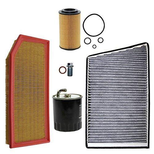Inspektionspaket SET B 1x Luftfilter 1x Innenraumfilter (Pollenfilter) mit Aktivkohle 1x Ölfilter 1x Kraftstofffilter 1x Ölablass-Schraube 1x Dichtring für Ölablass-Schraube