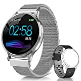 NAIXUES Smartwatch, Reloj Inteligente IP67 Pulsera Actividad Inteligente con Pulsómetro, Monitor de Sueño, Podómetro, Calorías Mujer Hombre para iOS y Android (Plata)