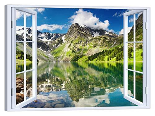 LuxHomeDecor Quadro Finestra Montagna Lago 100x75 cm Stampa su Tela con Telaio in Legno Arredamento Arte Arredo Moderno
