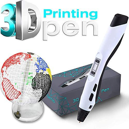 POWER BANKS 3D-Druckstift, LCD-Bildschirm, für Kinder und Erwachsene Kritzeleien, Zeichnen, Kunsthandwerk, Hobbys, Temperaturregelung, einstellbare Geschwindigkeit,Weiß