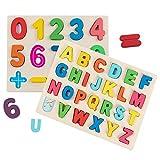 Jacootoys Puzzle de Madera Alfabeto y números Rompecabezas Juego de Mesa Aprendizaje Regalo Juguete Educativo para Niños