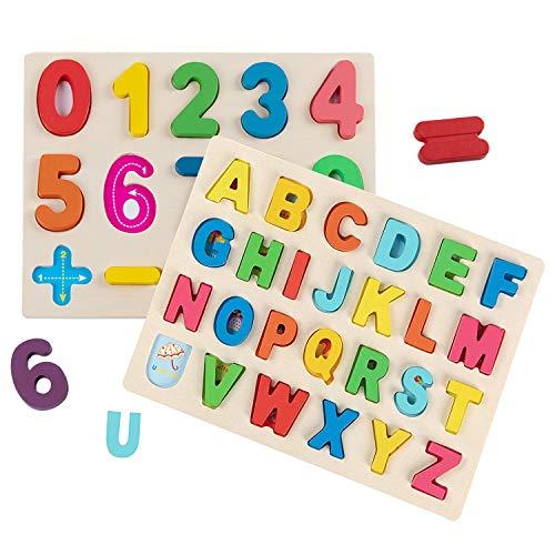 jacootoys Alphabet en Bois et numéro Puzzle Jeu de Plateau d'apprentissage Jouet éducatif Paquet de 2 pour Enfants