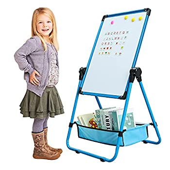 GEMEM Kids Art Easel Double Sided Whiteboard Chalkboard & Magnetic Dry Erase Board Sided Stand 26inch-44inch Height Adjustable 360°Rotating with Many Magnetic Letters and Numbers  Blue