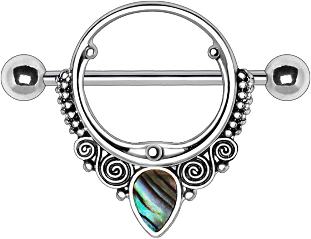 316L Stainless Steel Ornate Nipple Shield with Tear Drop Abalone 1.6mm X 22mm