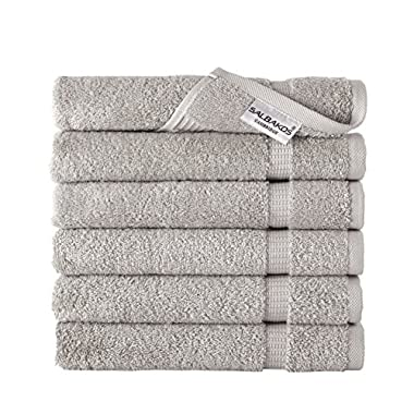 SALBAKOS Luxury Hotel & Spa Turkish Cotton 6-Piece Eco-Friendly Hand Towel Set 16 x 30 Inch, The Best Selling Silver Gray Color