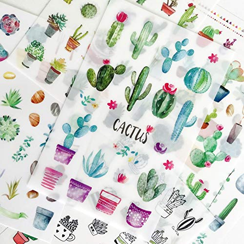 6 sheets/set Fall In Love with Cactus Plants Pvc Stickers Scrapbooking Diy Stationery Japanese Stickers
