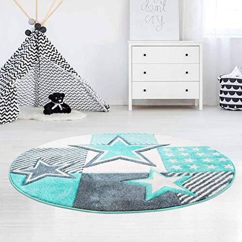 carpet city Kinderteppich Flachflor Bueno Sterne Muster Mint Türkis Konturenschnitt Glanzgarn Kinderzimmer; Größe: 120x120 cm Rund