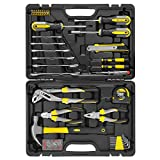 Household Repair Tool Set 39-pcs Hand Tool Kit & Accessories For General Home DIY Repair with Plastic Toolbox Storage Case for Home Maintenance