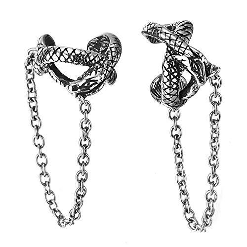 Vintage Serpiente Clip de Oreja, Clip-on Pendientes del Aro Colgantes Cadena, Pendientes para Hombres Mujer, Acero
