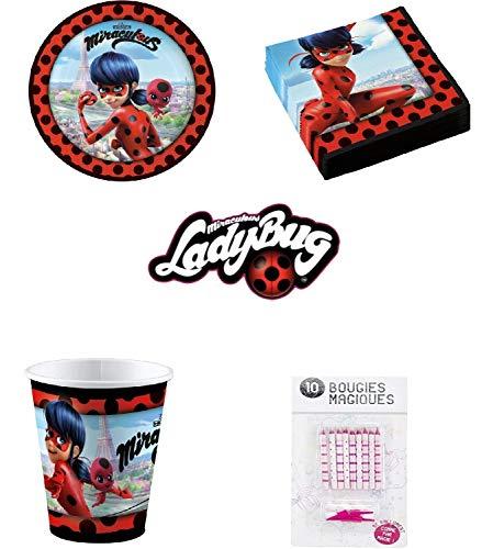 Uni que Set Prodigiosa Ladybug Decoración Cumpleaños 16 Niños (16 Platos, 16 Tazas, 20 servilletas) 10 Velas Mágicas ofrecidas Fiesta