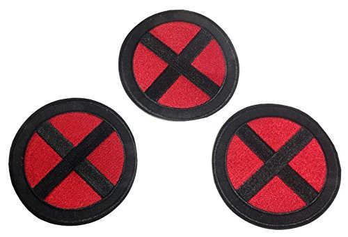X-Men Red and Black Logo 3 1/2' Wide Set of 3 Embroidered Patches