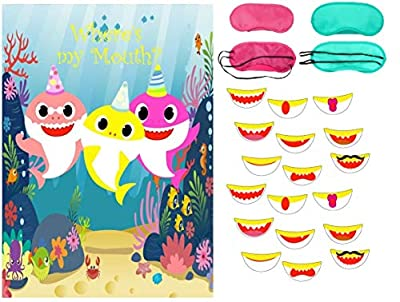 Pin the Mouth on Shark Party Favors Games Pin the Teeth on the Shark Game for Kids Shark Theme Birthday Baby Shower Shark Party Supplies -27 Mouth