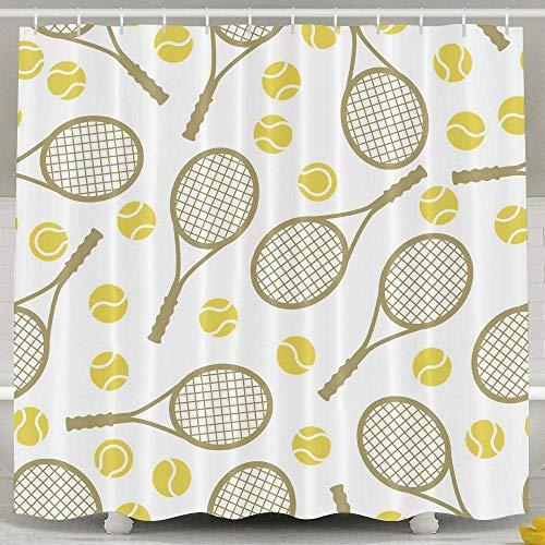 Presock Duschvorhänge, 60 X 72 Inch Shower Curtain,Tennis Racket Ball Pattern Polyester Waterproof Bath Curtain,Fabric Mildew Resistant Bathroom Decor Set with Hooks