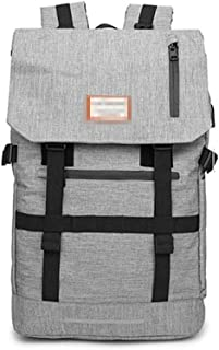 Djyyh Roll Cover Backpack Men's Large Capacity with USB Interface Travel Backpack Outdoor Sports Travel Hiking Bag Fashion Trend Packet (Color : Gray)