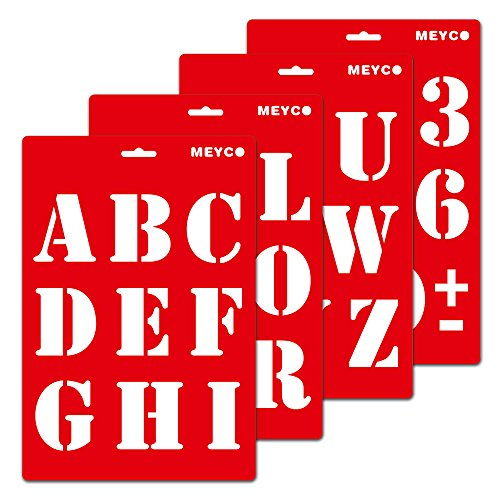 Schablone - Große Druckbuchstaben, Set/4, 20 x 30cm 4 verschiedene Schablonen