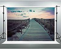 夕方の背景にHD7X5ftの夕日無人道路木製の床写真家のための孤独な旅行の背景ビデオスタジオの小道具SEN066