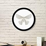 DIYthinker Resumen de la Mariposa Blanca de Origami patrón de la Pintura del Arte de Fotos de imágenes de Madera Marco Redondo Regalo a casa decoración de la Pared Pequeña Negro