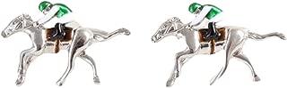 Mens Horse Racing Cufflinks - Silver/Green