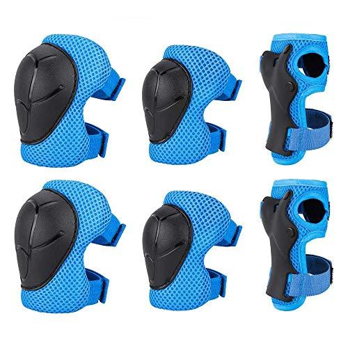 HUGEE Kinder Knieschoner Set - 6 in 1 Schutzausrüstung für Rollschuhe Radfahren Fahrrad,Stark und kollisionssicher,Skateboard Inline Skatings Roller Reiten Sport Kinderschutzausrüstung (Blau)