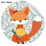 24 Margheriten Glückwunsch Aufkleber mit Fuchs Mädchen mit Blumenstrauß, MATTE Papier Sticker...
