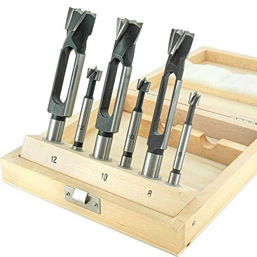 ENT 09150 6-tlg. Zapfenschneider und Forstnerbohrer Set WS - Ø 8-10-12 mm - für Verbinder, Dübel und Zapfen