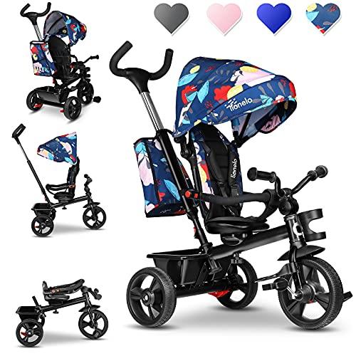 Lionelo Haari 2 in 1 triciclo bambini e passeggino fronte mamma e fronte strada regorabile compatto con borsa spaziosa e portabibite cinture a 3 punti da 1 a 5 anni fino a 25 kg (Blu Scuro)