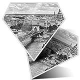 Awesome 38990 - Pegatinas de diamante de 10 cm, diseño del puente del río Danubio Budapest para portátiles, tabletas, equipaje, reserva de chatarra, nevera, regalo genial #