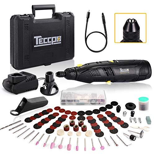 TECCPO Akku Multifunktionswerkzeug, 12V Set(mit 80 Zubehör, Flex Welle, Schnellspannbohrfutter, 2.0 Ah Li-lon Akku, Variable Drehzahleinstellung 5000-28000 1/min zum Schleifen, Schärfen, Polieren)