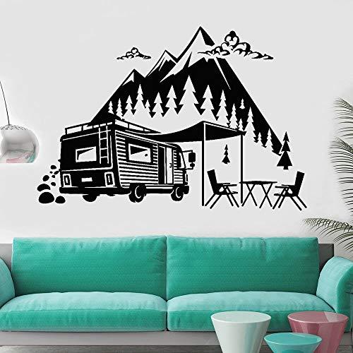 Calcomanía de pared de viaje para habitación de adolescentes, decoración del hogar, camión de viaje, aventura de montaña, vinilo, pegatina de pared interior A9 82x57cm