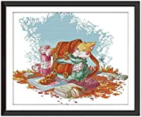 クロスステッチ刺繍 キット40x50cm DIY 猫と学校のバックパック 初心者刺しゅうキット11CTプリント済みキャンバスクロスステッチの布刺繍キット手作り家具の装飾 針仕事(フレームレス)